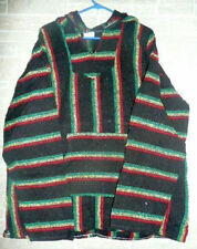 NEW! LARGE BAJA SURFER HOODIE SKATER JACKET MEXICAN PONCHO HOOD POCKET WARM
