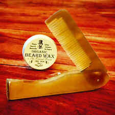 Organic Moustache Wax + Ox Horn comb by Revered Beard. Premium Beard Styling wax