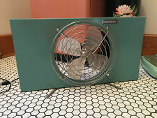Vtg Mid Century Industrial Eskimo AQUA BLUE Standing or Window Fan WORKS!