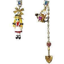 BETSEY JOHNSON FARMHOUSE MiNi Doll Heart Shovel Bucket Earrings Crystal MiSMatch