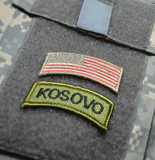 NATO FORCE KFOR US ARMED FORCES CAMP BONDSTEEL INSIGNIA TAB: KOSOVO + US FLAG