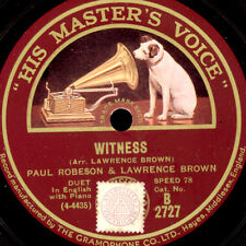 PAUL ROBESON -BASS- & LAWRENCE BROWN  Witness / I got a home in dat Rock  S9021
