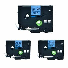"""3PK TZ531 Black on Blue12mm 0.47"""" Label Tape TZe531 for Brother P-Touch PT-1090"""