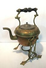 Vintage Brass Wood Handle Tea Kettle Pot With Stand