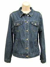 GEOFFREY BEENE Sport Blue Denim Jean Jacket Coat Trucker Women Size 14 Vintage