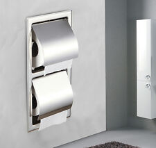 Chrome Finish Recessed Toilet Double Roll Paper Holder Box Wall Mounted