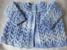 Hand knitted Baby Blue Matinee cardigan fits 0-3 mths 'NEW'