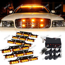54 Amber/Yellow LED Warning Flash Strobe Light Bar Emergency Deck Dash Grille#02