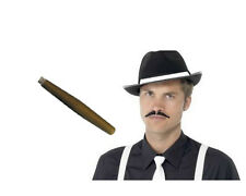 INSTANT GANGSTER KIT BLACK HAT MOUSTASH CIGAR AL CAPONE MOB FANCY DRESS TRILBY