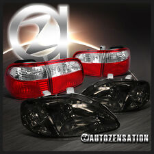 For Honda 99-00 Civic 4dr JDM Crystal Smoke Headlights+Red Clear Tail Lamps