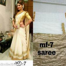 Designer Wear Pure Chanderi Cotton With Brocade First Copy Saree