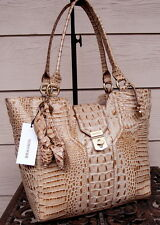 Brahmin Diana Champagne Croc Embossed Leather Tote + Double Hanging Rossettes