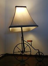 Bicycle Table Lamp Antique Style Big Wheel Penny Farthing Style with Shade