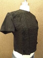 True Vtg 1950s New NOS Jet Black Ribbon Weave Back Button Down Fitted Crop Top S