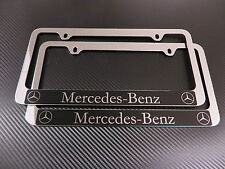 (2pcs) Mercedes-Benz HALO chrome METAL license plate frame - Front & Rear