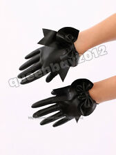 100% Latex Rubber Gummi 0.45mm Gloves Glove Bowknot Suit Catsuit Black Party