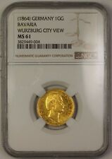 (1864) Germany 1GG Gold Coin Bavaria Wurzburg City View NGC MS-61 RRR