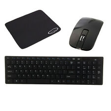 New 2.4G Multimedia Wireless Mouse and Keyboard Set + Mouse Pad Black