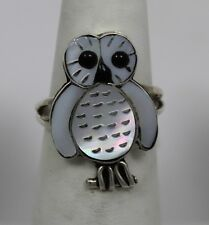 Zuni Indian Ring Owl Mother-of-Pearl Black Onyx Size 7-1/2  Sterling Silver Reg