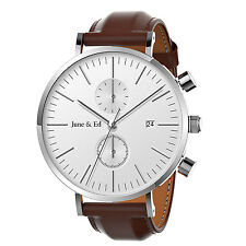 June & Ed W0020 Leather Band Men's Wrist Watch with Sapphire Crystal Dial Window