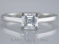 1.00ct Certified H VS2 VG Asscher Cut Diamond & 18ct White Gold Solitaire Ring