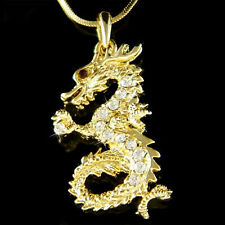 w Swarovski Crystal Chinese Dragon Amulet Oriental Fairy Pendant Gold P Necklace