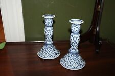 "2 Blue White Candle Holders Tall Classic Candlestick 7 3/8"" high Bombay"