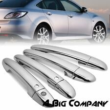 FOR 10-15 MAZDA 3 6 SEDAN CHROME 4 DOOR HANDLE COVERS TRIM CAP W/ SMART KEY KIT