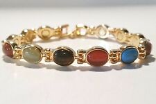 OVAL MULTI-COLOR SEMI PRECIOUS STONES MAGNETIC BRACELET WOMEN PRO HEALTH