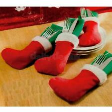 4x Christmas Stocking Tableware Silverware Party Cutlery Holder Pouch Decor