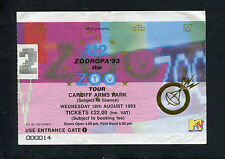 Original 1993 U2 Concert Ticket Stub Zooropa 93 The Zoo Tv Tour Cardiff Wales