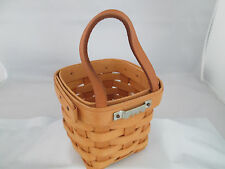 Longaberger Chive Basket 1996 hanging 4 x 4 x 4 leather strap and hanger 83-2