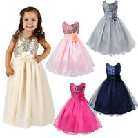 Flower Girl Kids Baby Xmas Bridesmaid Party Formal Sequin Ball Gown Dress 2-10Y
