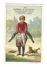 Old Trade Card Gowans & Stover's Healthful Soap Boys Leap Frog Miners Soap