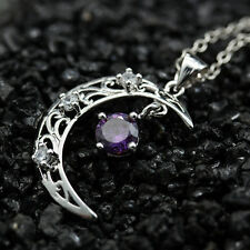 Fashion Women Silver Charm Moon Amethyst Crystal Hollow Vintage Necklace Pendant