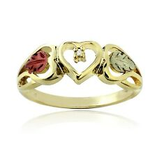 18K Gold over 925 Silver Two Tone Diamond Accent Heart & Leaves Ring Size 1