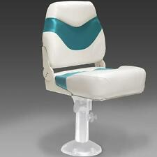Folding Pontoon Boat Seats In Ivory and Teal