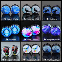 Pair Acrylic Ear Tunnel Plug Stretcher Ear Gauges Screw Back 20 Patterns Choose