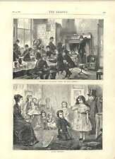 1871 bocetos en telegráfico Street Boys Cocina actuando Charades antigua de impresión