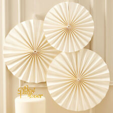 Ginger Ray Ivory Paper Fan Decorations, Cream, Hanging Decoration, Wedding Party