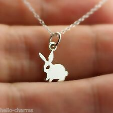 TINY BUNNY NECKLACE - 925 Sterling Silver - Rabbit Hare Pet Charm Jewelry NEW