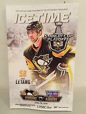 STANLEY CUP PLAYOFFS 2016 PITTSBURGH PENGUINS VS NEW YORK RANGERS PROGRAM GAME 2