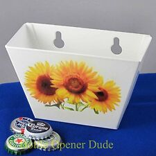 White SUNFLOWERS Metal Cap Catcher for Wall Mount Bottle Openers STARR New!!!
