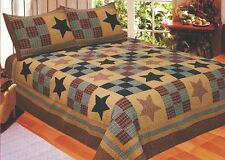 PRAIRIE STAR Full / Queen QUILT : PRIMITIVE RUSTIC RED PLAID CABIN COMFORTER