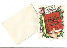 1948 Dental Theme Christmas Card Brush Up Your Bridge MOVING Tooth Brush Denture