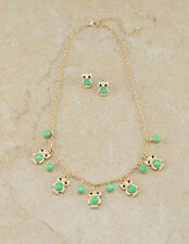 Gold Toned Necklace With Mint Green Owl Charm and Matching Stud Earrings