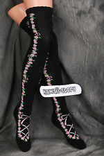 So-28 black schwarz Rosen Rose Gothic Lolita Socken Overknees Strümpfe Stockings