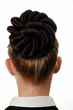 Hair Bun bun Hair piece large braided Curls Black-Red-Mix N794-1SP99J