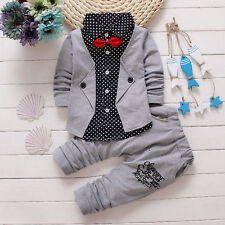 Newborn Baby Kids Boys Gentleman Clothes Tops Shirt+Pants Outfits Set Size 6-12M