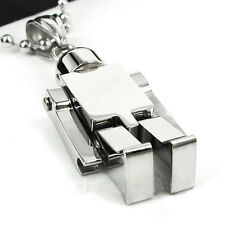 New Unisex's Men's Women Boy Silver Stainless Steel Robot Pendant Necklace Gift
